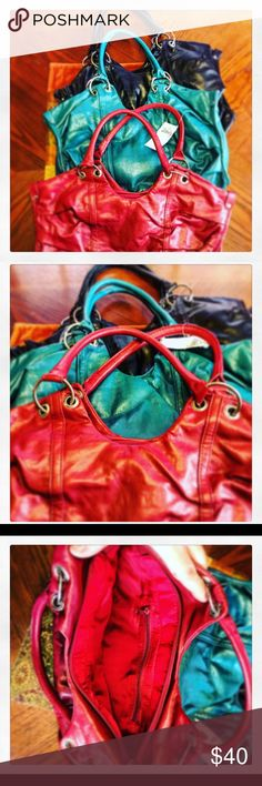 Lot of 3! Three of the same purse in different colors - black, teal & red! Red one has never been used, other two used very little! Vanity Bags Shoulder Bags