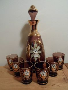 Venetian Glass Decanters | Vintage Venetian Glass Decanter and 6 shot glasses