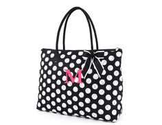 Monogrammed Large Tote Black White Pink Polka dot by AZEmbroidery, $26.50