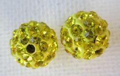 3PCS  Yellow  Polymer Clay  Crystal Shamballa Beads by ZARDENIA, $3.00