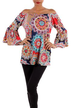 Red/Navy Bell Sleeve Top - The Whimsical Owl