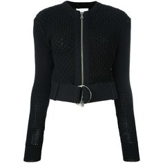 3.1 Phillip Lim belted crochet jacket found on Polyvore featuring polyvore, women's fashion, clothing, outerwear, jackets, black, utility jacket, zip front jacket, 3.1 phillip lim and stitch jacket