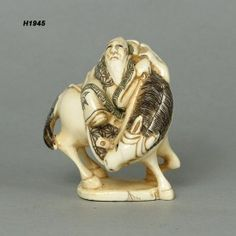 Chinese Long Life Man Riding On Horse Mammoth Ivory Netsuke Handcrafted Figurine Carving H1945