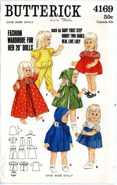 "Baby 1st Step - Goody Two Shoes ORIGINAL 20"" Doll Clothes PATTERN Real Live Lucy"