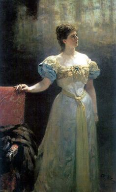 Marie Klavdievna Tenisheva (native-born Pyatkovskaya, on stepparent   Marie  von Dezen; in the first marriage   Nikolaeva; 1858 1928)   russian noble (the duchess), public figure, artist, teacher, the patron of the arts and collector. The Founder artistic aspic in Petersburg, Drawing school and Museum of the russian old fellow in Smolensk, school craft pupil under Bryansk, as well as artistic-industrial workshops in own property Talashkino.This is her portrait of the  Iliya Repin (1896).