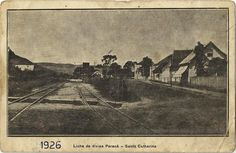 1926 - Linha de divisa Paraná - Santa Catarina em Porto Uniao SC. Essa é uma fotografia fantástica! Na verdade, mais parece um cartão postal da época!!! Foto e fonte: http://ondeficaportouniao.blogspot.com.br/