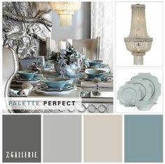 neutral color palette with tonal hues of blues, creams and grays
