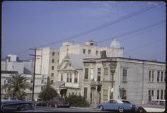 """""""Olive Street between and Streets,"""" Palmer Connor, photographer. From the Palmer Connor Collection of Color Slides of Los Angeles. Courtesy of The Huntington Library, San Marino, CA Hotel California, Southern California, Bunker Hill Los Angeles, Olive Street, Huntington Library, Downtown Los Angeles, Old Buildings, Beverly Hills, Past"""