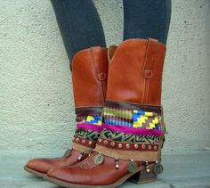 Frieda Khente Tribal Boot cuffs by LotusRootsCreations on Etsy, $54.00