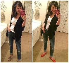 Black cardi, white t, jeans, flats, bar necklace