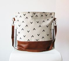 Geometry Hobo Bag Crossbody Bag Canvas and vegan Leather by byMART