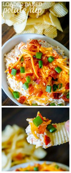 Loaded Baked Potato Dip is an all time favorite party recipe and game day dip with my friends and family! It doesn't get much better than bacon and cheese! | The Love Nerds Dip For Potato Chips, Loaded Baked Potatoes, Baked Potato Toppings, Loaded Baked Potato Dip Recipe, Yummy Appetizers, Appetizer Recipes, Appetizer Dips, Game Day Appetizers, Game Day Snacks