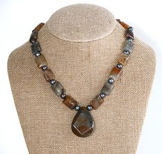 Mixed gemstone pendant necklace / rutilated by RedYuccaDesigns, $55.00