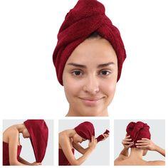 Frottee-Haar-Turban-Kopfhandtuch-Kopftuch-Handtuch-Haarpflege-Haartrockentuch
