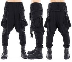 Cargo/Haremshosen Dystopian Fashion, Cyberpunk Fashion, Hipster Outfits, Cool Outfits, Drop Crotch Pants, Character Outfits, Alternative Fashion, Look Cool, Sneakers Fashion