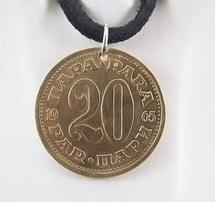 Yugoslavia Coin Necklace 20 Para Coin by AutumnWindsJewelry Coin Jewelry, Coin Necklace, Unique Jewelry, Pendant Necklace, Birth Year, Coin Pendant, Ball Chain, Leather Cord, Necklace Lengths