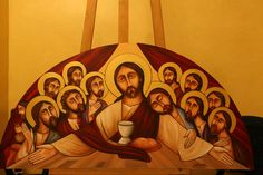 The last supper by Joseph A. Religious Icons, Religious Art, Last Supper Art, Paint Icon, John The Evangelist, Social Art, Effigy, Orthodox Icons, Christian Art