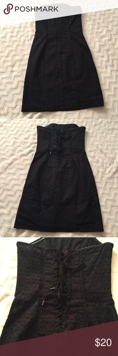 Black strapless Betsey Johnson dress Black strapless dress from Betsy Johnson. It has corsage detailing on the back. Worn only once so it's in great condition! Feel free to bundle the dresses together for a discounted price. Betsey Johnson Dresses Strapless