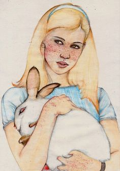 Society 6 is the best. Alice in Wonderland by The White Deer Lewis Carroll, Art Et Illustration, Illustrations, Pin Up, Alice Tea Party, Adventures In Wonderland, Face Art, Watercolor Art, Fairy Tales