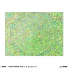 Green Floral Feather Mandala Tissue Paper #mandala #TissuePaper #green #floral #FloralMandala #gift #design #graphicdesign #art #artwork #GreenMandala #MandalaArt #MandalaDesign