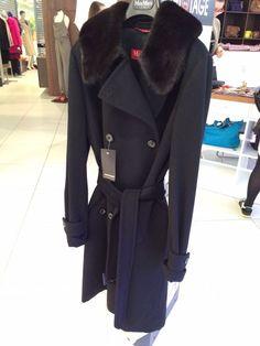 NWT Max Mara Studio 40It virgin wool mink collar coat belted double breasted XS #MaxMara #BasicCoat