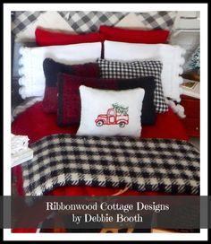 Rustic Winter Christmas Dollhouse Bedding Pattern PDF -1:12 scale