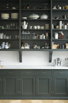 "Home Interior Cuadros The perfect open storage in beautiful Broby, hand painted in color ""Studio Green"" from Farrow & Ball. Home Decor Kitchen, New Kitchen, Home Kitchens, Kitchen Dining, Kitchen Black, Cottage Kitchens, Grey Kitchens, Modern Kitchens, Green Kitchen Cabinets"