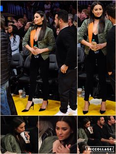 Natural beauty: Actress Shay Mitchell's cleavage was front and center at a Los Angeles Lakers game on Thursday night The Canadian-born actress opted for the classic look of skin tight black pants and black high heels before taking her court side seat. She kept warm in a green leather jacket with bright orange lining on the inside that peeked out as she chatted court side before the game.  She let her long brunette hair fall straight down her chest from a center part as she hung onto her…