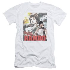 RAMBO:FIRST BLOOD/THEY DREW COLLAGE-S/S ADULT 30/1-WHITE