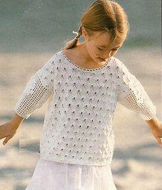 Bílý dívčí dírkovaný pulovr | PLETENÍ – NÁVODY