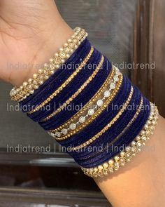 Dark Blue Velvet Bangle Set with Simulated Diamond/CZ And Polki & Faux Pearl. Bangle Size : or diameter Base : High Grade Alloy Metal Indian Jewelry Earrings, Indian Jewelry Sets, Indian Wedding Jewelry, Indian Bangles, Egyptian Jewelry, Egyptian Art, Crystal Jewelry, Silver Jewelry, Antique Jewellery Designs