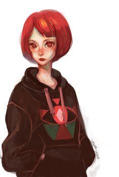 red hair girl in hoodie by Joysuke.deviantart.com on @deviantART