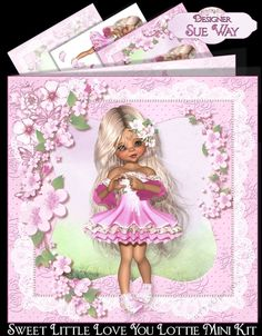 """A beautiful card with an adorable little girl, with very long hair, dressed in a pretty pink dress, surrounded by a pretty frame and flowers. This could be used for any female occasion from mothers day to birthdays, would be lovely for a little girl.  This mini kit makes an 8"""" square card and includes 3 designs sheets, the card front, decoupage, a matching insert and sentiment tags. The greeting on the tags are Happy Birthday, Best Wishes, Special Daughter, With Love and one left blank f..."""