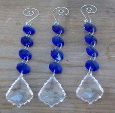 3 Blue Crystal Strands for Wedding Martini by weddingbridaldecor