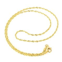 10k Yellow Gold 2.0 mm thick Solid Diamond-Cut Royal Rope Chain - 22', Women's