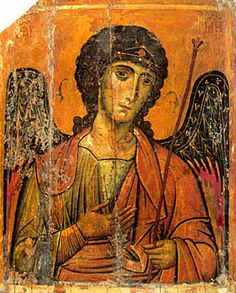 Archangel Michael sometimes referred to as Saint Michael the Archangel, he is mentioned three times in the Book of Daniel. This is a Byzantine depiction of him from Saint Catherine's Monastery, Mount Sinai. Byzantine Icons, Byzantine Art, Religious Icons, Religious Art, Saint Catherine's Monastery, Sainte Catherine, Icon Collection, Guardian Angels, Orthodox Icons
