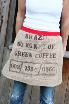 Upcycled Burlap Coffee Bag HalfApron by AllThingsMadeAF on Etsy