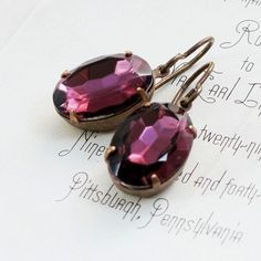 Amethyst Earrings Purple Rhinestone Earrings Vintage Glass Jewels Hollywood Style - Amethyst Dreams @JPwithLove $22.00 ~ treasured http://www.etsy.com/treasury/NjUyNTgyN3w3MjM5MzUxODM/garden-party