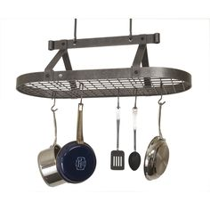 Enclume Oval Ceiling Pot Rack with Grid - Free Hooks