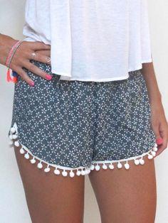 Navy, Floral Print, Elastic Waist, Pom Poms Shorts