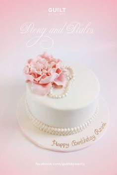 Peony & Pearls - Cake by guiltdesserts 30th Anniversary Cake, Pearl Cake, Communion Cakes, Cakes For Women, Just Cakes, Happy Birthday Cakes, Elegant Cakes, Pretty Cakes, Creative Cakes