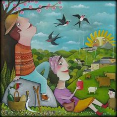 Con un libro en el campo by Leandro Lamas Naive, Couple Art, Painting & Drawing, Clip Art, Fine Art, Cartoon, Gallery, Drawings, Swallow