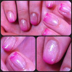 Pink ombré calgel nails