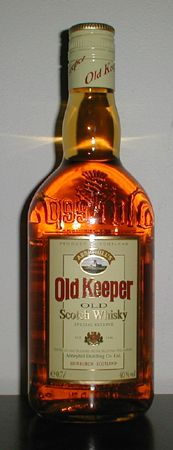 Today I bought a tasting box with a small bottle of Scotch, Bourbon, Irish Whiskey and Canadian Whisky. The Scotch was destilled by Abbeyhill and named Old Keeper. Searching in teh web for more informations I found this picture.