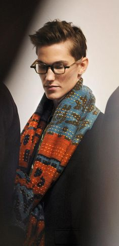 Cashmere jacquard scarf and eyewear from The Scholar Collection