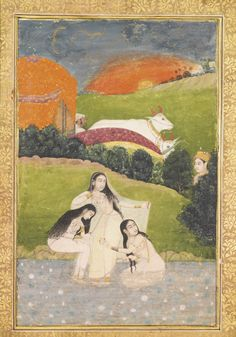 Three ladies bathing. Opaque watercolor heightened with gold on paper, Mughal, ca. 1650