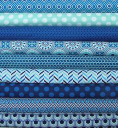 9 Half Yard Cuts of Singin the Blues Collection by Camelot Fabrics. These are high quality designer quilting fabrics cut from the bolt. Textiles, Monochromatic Quilt, Millefiori Quilts, Blue And White Fabric, Quilt Material, Fabric Combinations, Fabulous Fabrics, Fabric Patterns, Fabric Crafts