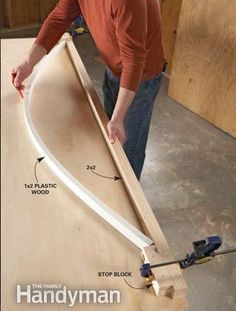 How to Cut Curves in Wood - Use a plastic molding. It bends very uniformly and yields near-perfect symmetrical curves