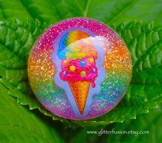 Vintage 90's Lisa Frank Rainbow Ice Cream Cone by GlitterFusion