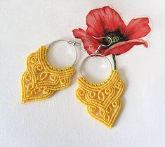 MacrameMarika / Macramé náušnice žlté kruhové Jewerly, Origami, Crochet Earrings, Handmade, Jewlery, Hand Made, Schmuck, Jewelry, Origami Paper